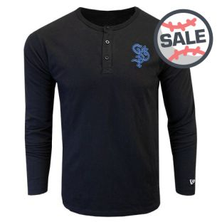 New Era Brushed Jersey Henley Long Sleeve T-Shirt